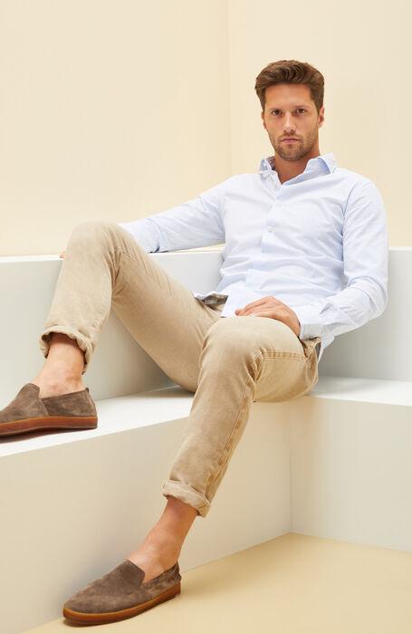 Light Blue Slim Fit Striped Cotton Shirt with Cutaway Collar , Glanshirt | Slowear