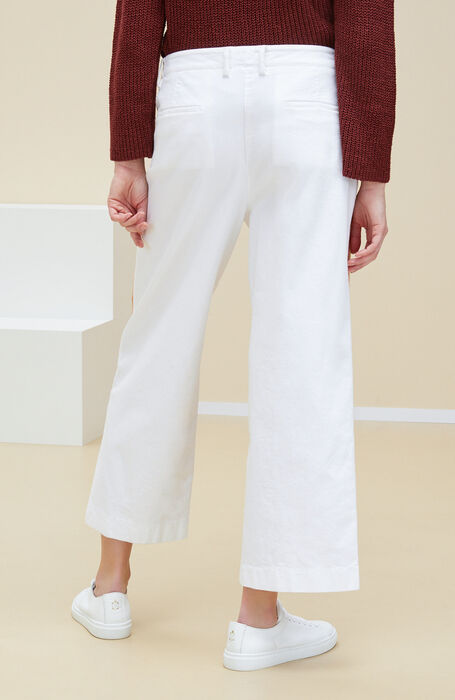 Wide fit trousers in white stretch cotton drill with ethnic embroidery , Incotex | Slowear