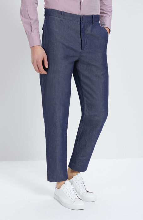 Wide Fit Trousers with Herringbone Pattern , Incotex - Verve | Slowear