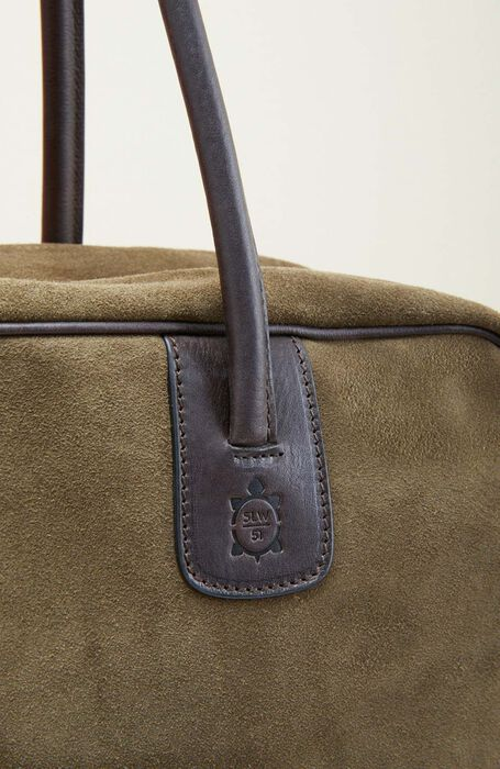 Reisetasche aus dunkelgrünem Wildleder , Officina Slowear   Slowear