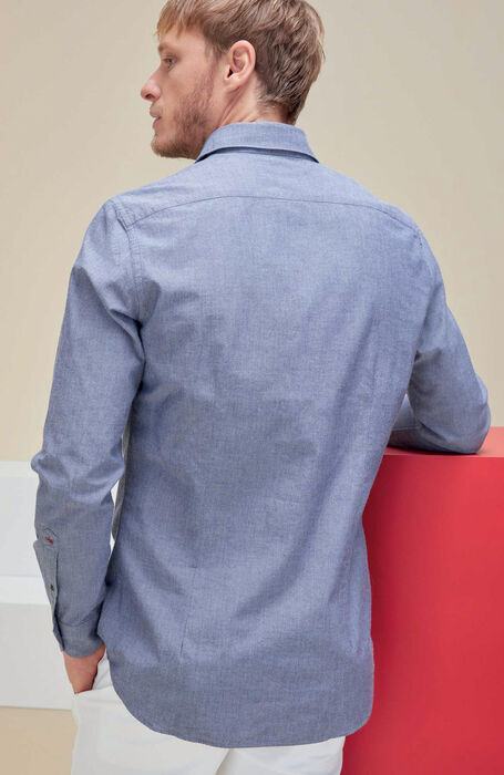 Blue slim fit chambray cotton shirt with French collar , Glanshirt | Slowear