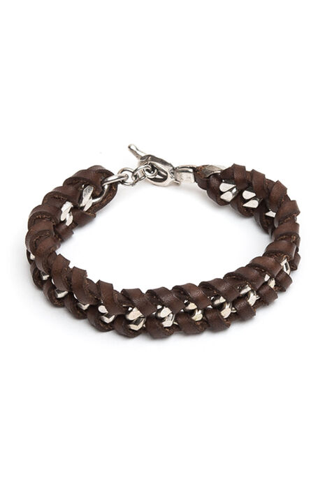 Chain + Braided Leather Bracelet , Officina Slowear   Slowear