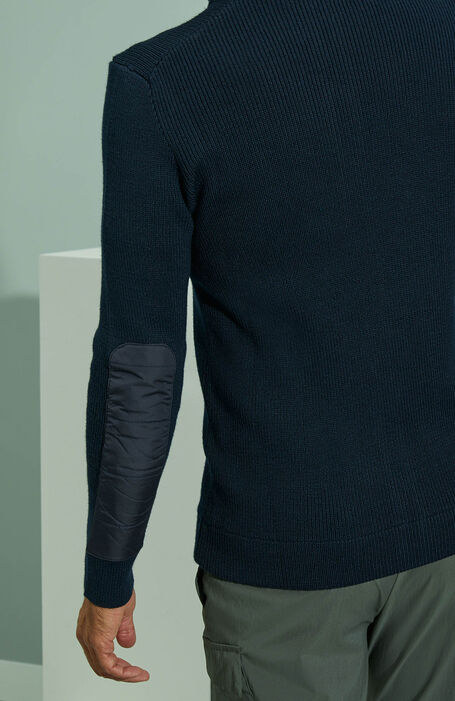 Wolf sweater with zip in merino wool and blue nylon details , Urban Traveler | Slowear