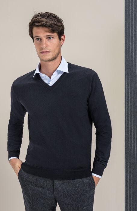 V-neck sweater in Flexwool , Zanone   Slowear