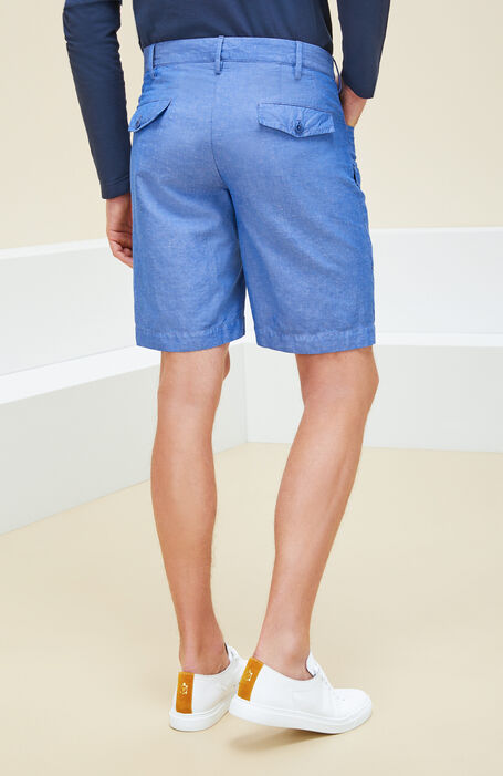 Blue cotton and linen cargo Bermuda shorts , Incotex - Venezia 1951 | Slowear