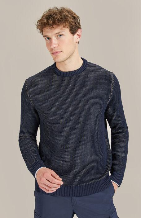 Merino wool midnight blue and military green Thermolite crewneck sweater , Zanone - Urban traveller   Slowear