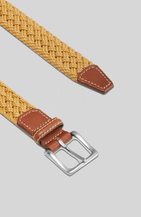 Belt in cotton with beige calfskin leather details , Officina Slowear | Slowear