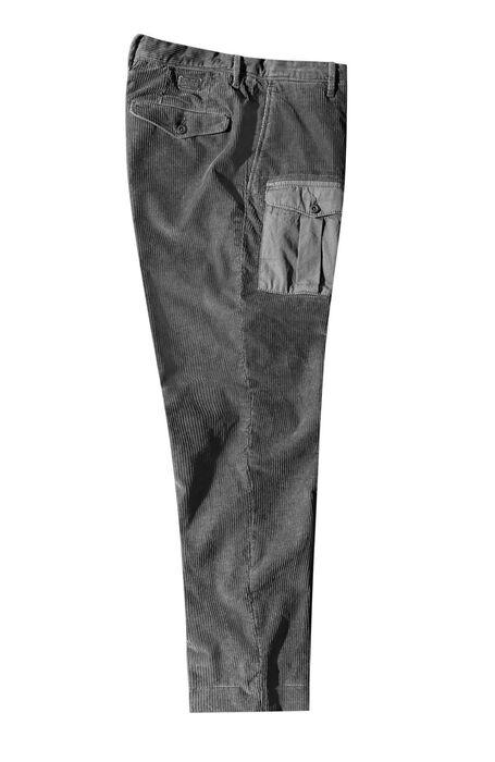 Pantalone tapered fit in corduroy stretch con tasche a contrasto grigio tortora , Incotex - Slacks | Slowear