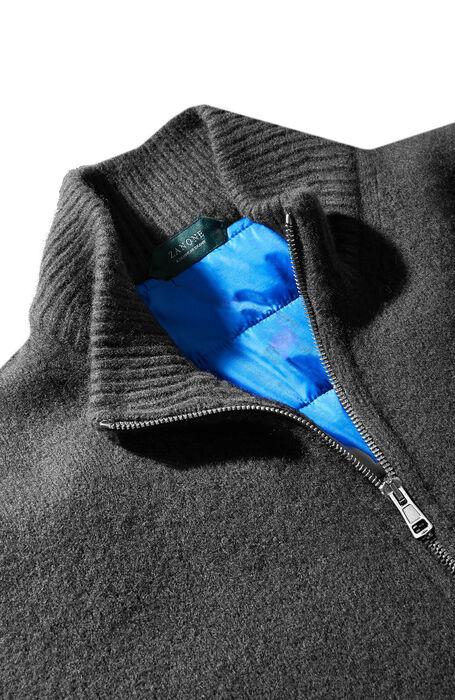 Wool and cashmere zipped bomber sweater with nylon lining , Zanone | Slowear