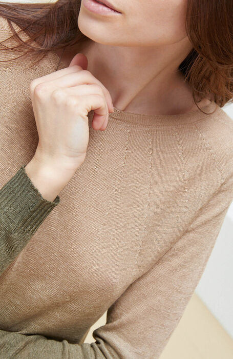 Crew-neck sweater with long sleeves in green linen with degradé effect. , Zanone   Slowear