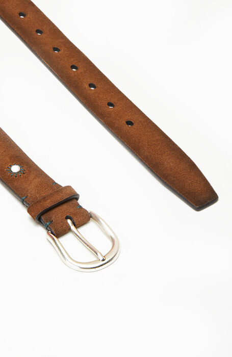 Belt in suede calfskin leather with embroidery , Officina Slowear | Slowear