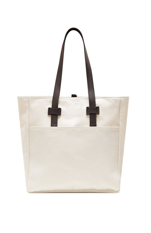 Tote bag in cotton with grey leather details , Officina Slowear | Slowear