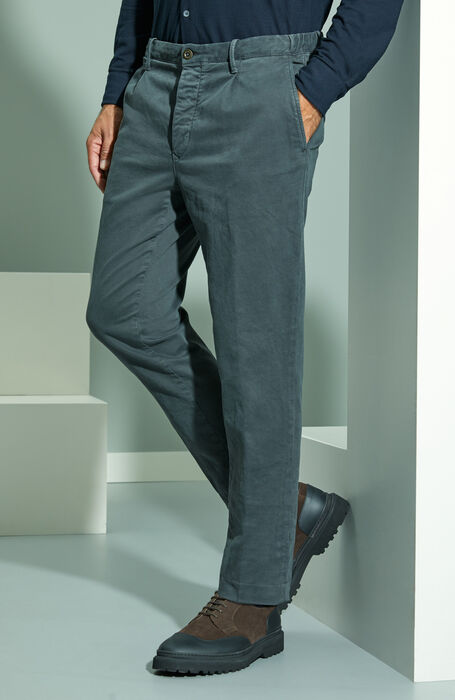 Tapered fit anthracite grey cotton satin trousers with drawstring , Incotex - Slacks | Slowear