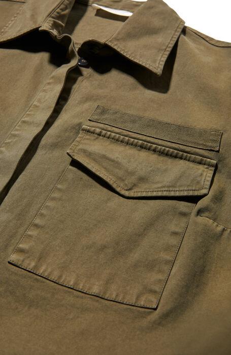 Military green stretch cotton gabardine shirt , Glanshirt | Slowear
