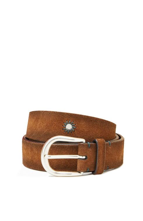 Belt in suede calfskin leather with embroidery , Officina Slowear   Slowear