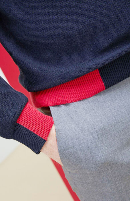 Blue crepe cotton crewneck sweater with contrasting detail , Zanone | Slowear