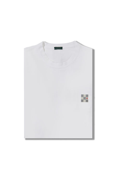 Short-sleeved slim-fit IceCotton T-shirt with The Flag Series patch , ZANONE Icecotton   Slowear