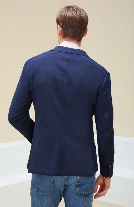 Single-breasted unlined cotton jacket in blue leno , Montedoro | Slowear