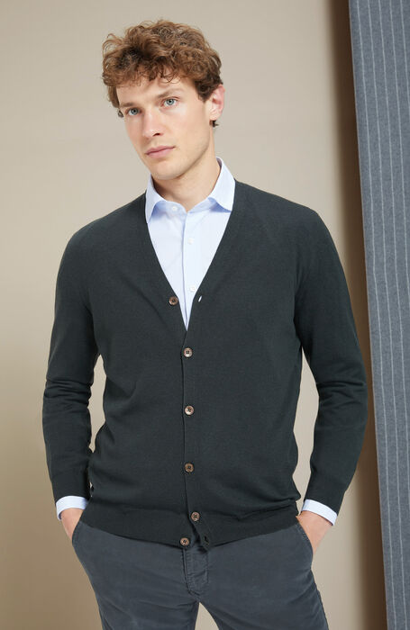 "Green ""Flexwool"" crewneck cardigan , Zanone 