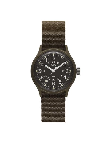 MK1 36mmミリタリーインスピレーションを得たグログランストラップウォッチ , Timex | Slowear