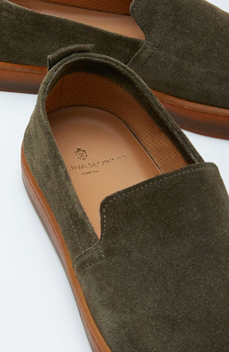Espadrilles in suede calfskin with a green rubber sole , Officina Slowear | Slowear
