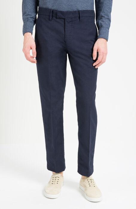 Blue Slim Fit Woven Cotton Trousers , Incotex - Slacks | Slowear