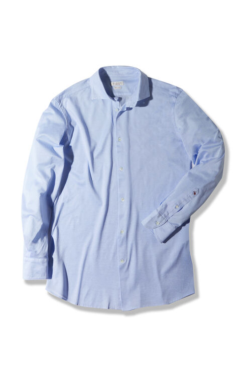 Slim-fit Fil d'Ecosse cotton jersey shirt with French collar , Glanshirt | Slowear