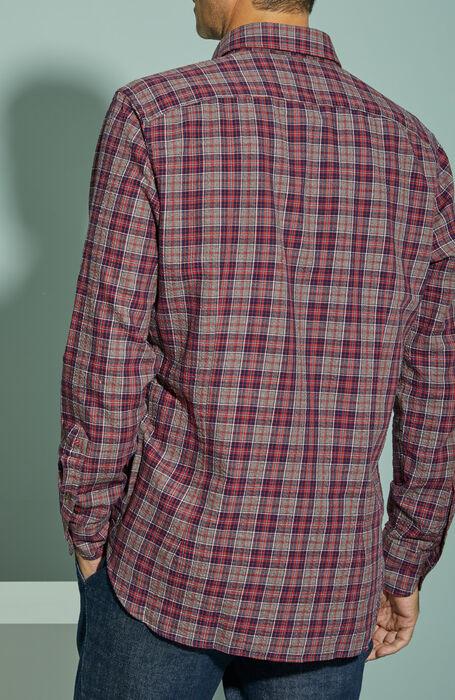 Regular fit check motif cotton seersucker shirt with classic collar , Glanshirt   Slowear