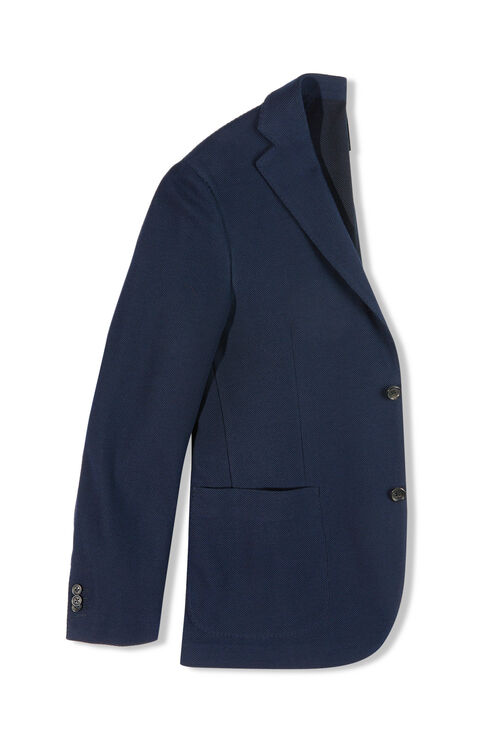 Single-breasted slim-fit unlined jacket in honeycomb cotton , Montedoro | Slowear