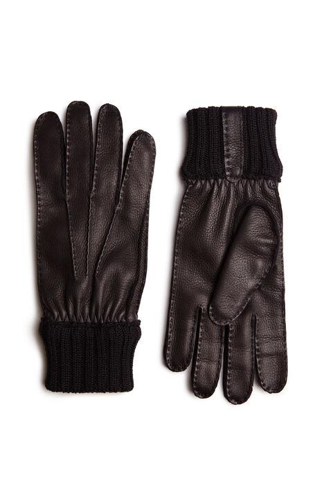 Deerskin gloves with brown merino wool detail , Restelli | Slowear