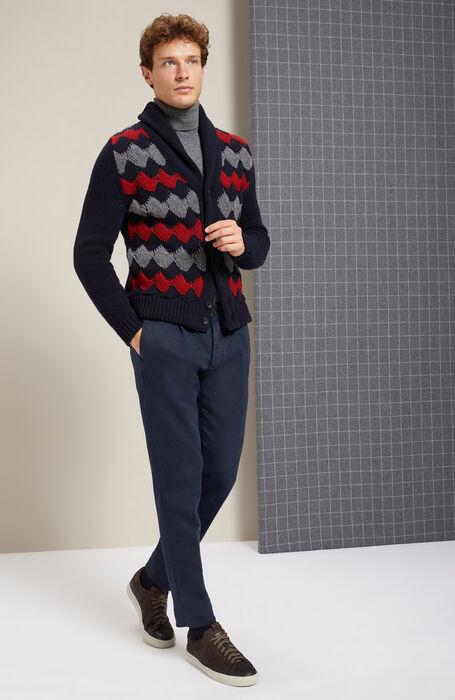 Maxi Cardigan with shawl collar in Lambswool and red Bouclé Wool , Zanone | Slowear