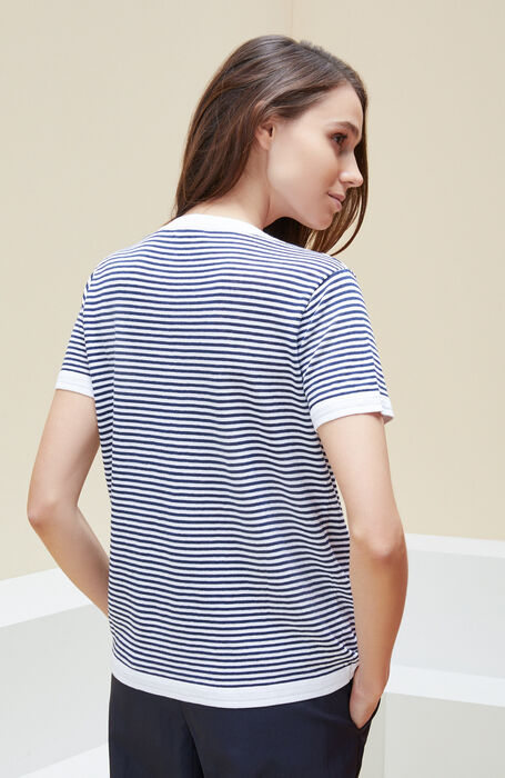 V-neck sweater with short sleeves in linen, cotton and striped viscose , Zanone | Slowear