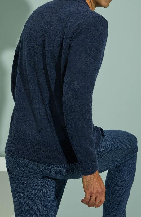 Blue bouclé merino wool overshirt , Zanone | Slowear