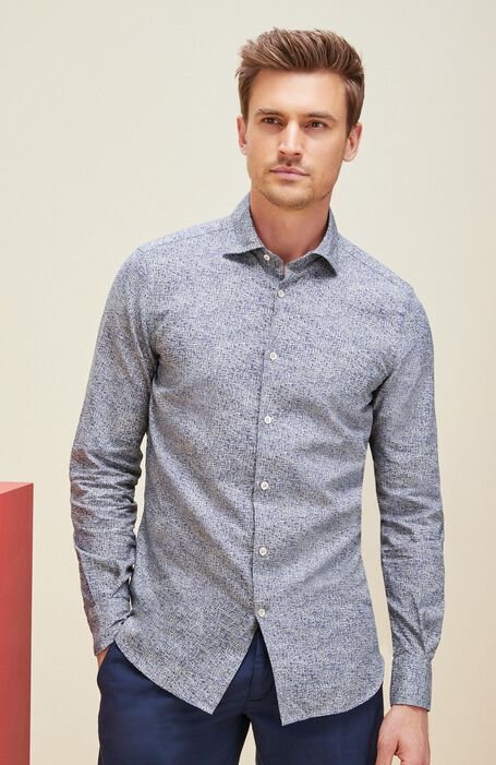 Printed slim fit shirt in linen and cotton with French collar , Glanshirt | Slowear