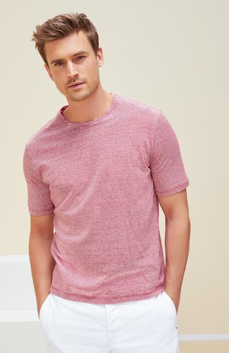 Short Sleeve Striped Linen Jersey T-Shirt , Zanone   Slowear