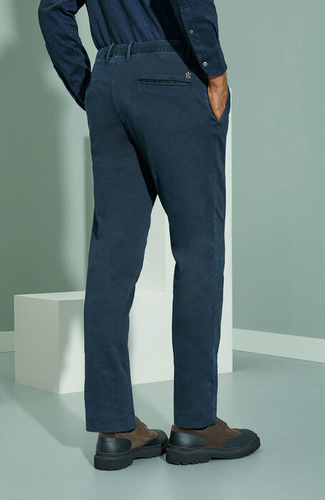 Tapered fit blue cotton satin trousers with drawstring , Incotex - Slacks | Slowear