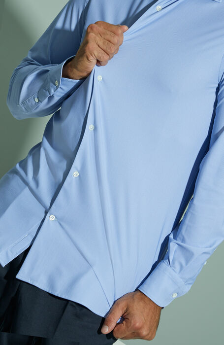Slim fit technical fabric shirt with print and French collar , Glanshirt | Slowear