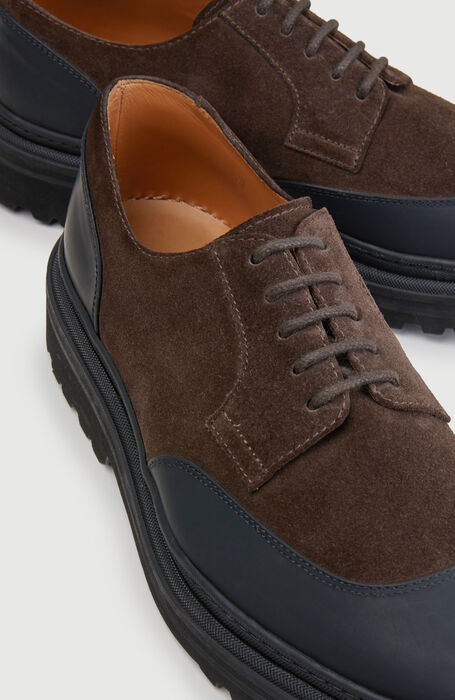 Derby shoes in waterproof suede leather and rubber details  , Officina Slowear | Slowear