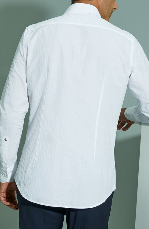 "Slim-fit ""White Jacquard"" cotton shirt with French collar , Glanshirt   Slowear"