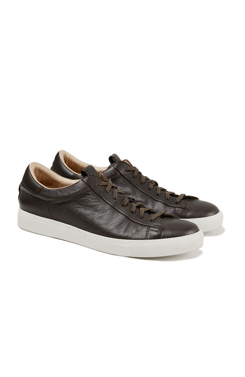 Sneakers in dark brown textured leather , Officina Slowear | Slowear