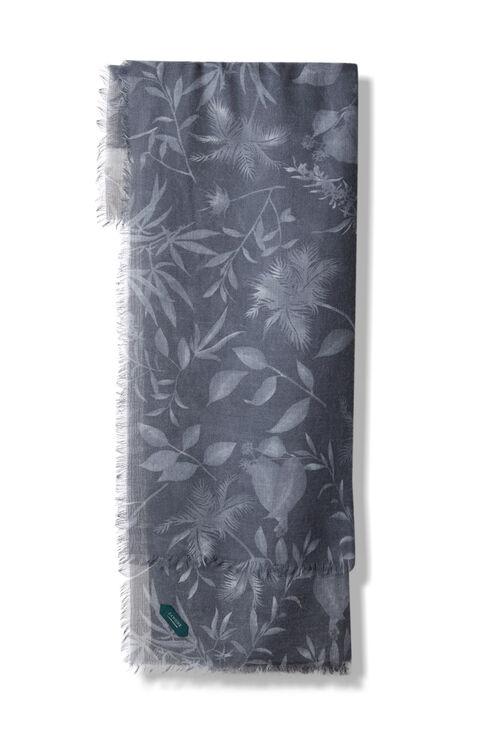 Grey floral pattern wool, cashmere and silk scarf , Zanone | Slowear