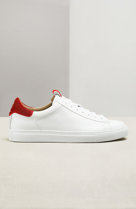 Leather trainers with red suede details , Officina Slowear | Slowear