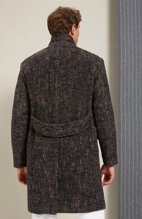 Double-breasted coat lined in herringbone Alpaca wool , Montedoro   Slowear