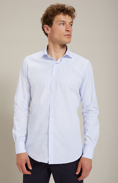 Slim-fit French-neck shirt in Percalle cotton , Glanshirt | Slowear