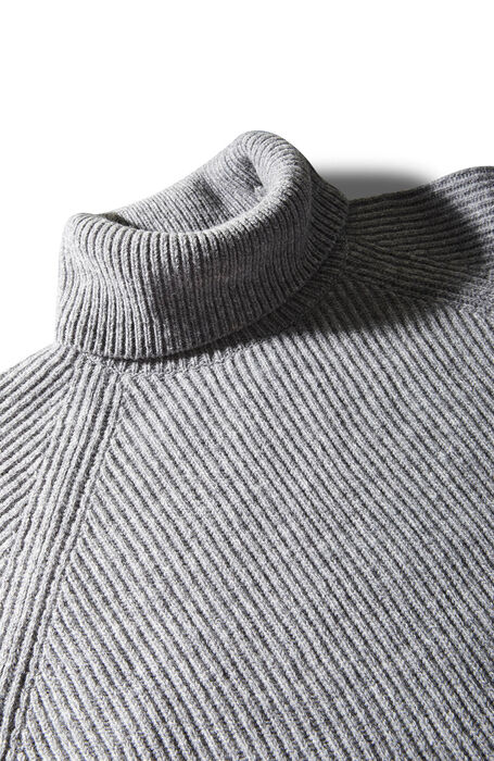 Grey lambswool English rib turtleneck sweater , Zanone | Slowear