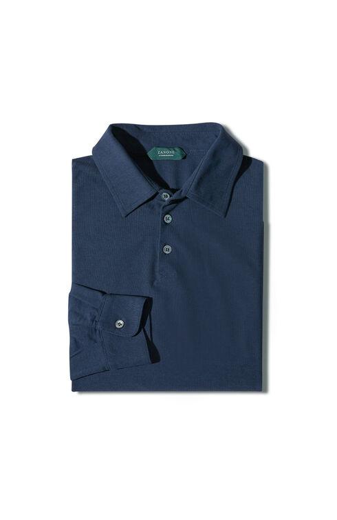 Long-sleeve slim-fit Ice Cotton polo shirt , ZANONE Icecotton | Slowear