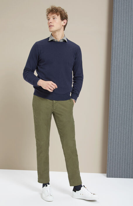 Dark blue wool and cashmere crew-neck , Zanone | Slowear