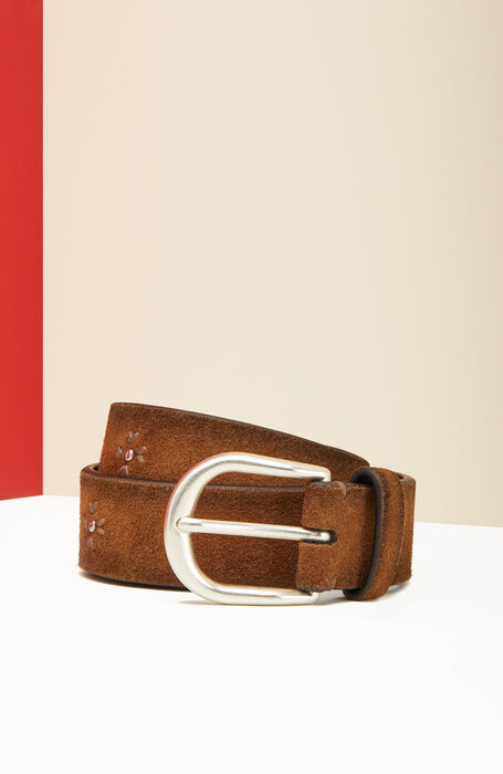 Belt in suede calfskin leather with floral embroidery , Officina Slowear | Slowear