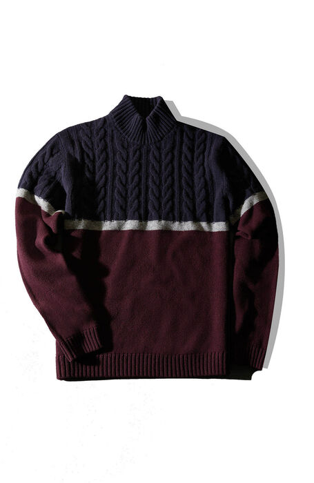 Lambswool turtleneck sweater with colour block motif , Zanone | Slowear