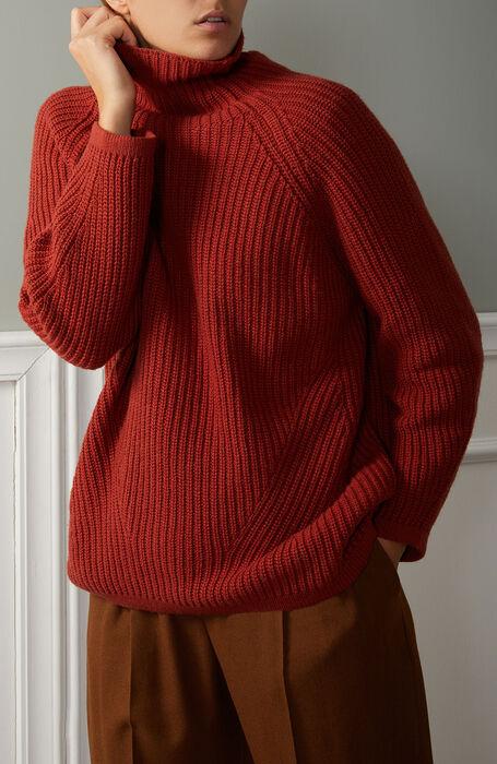 Vulcano neck sweater in dark orange wool, viscose and cashmere , Zanone | Slowear